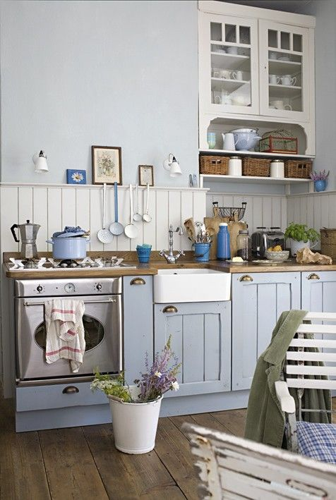 White, blue, lovely sink, vintage elements. Love!: