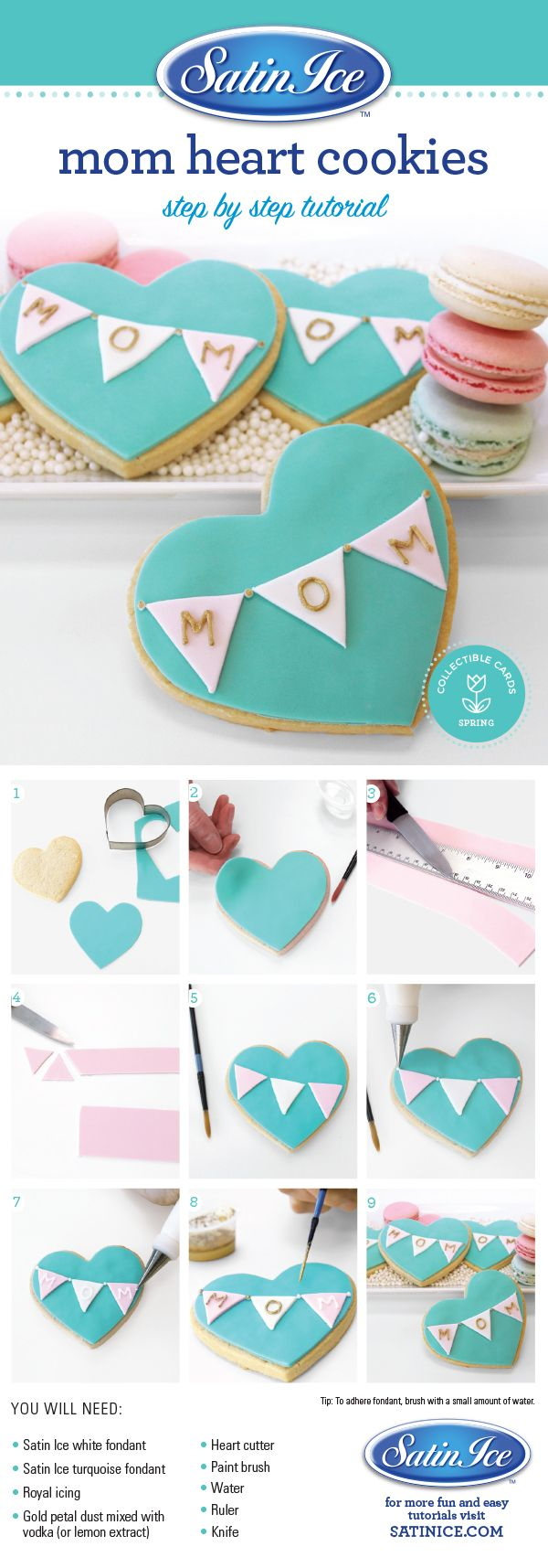 DIY fondant heart cookies for Mother's Day by Satin Ice!