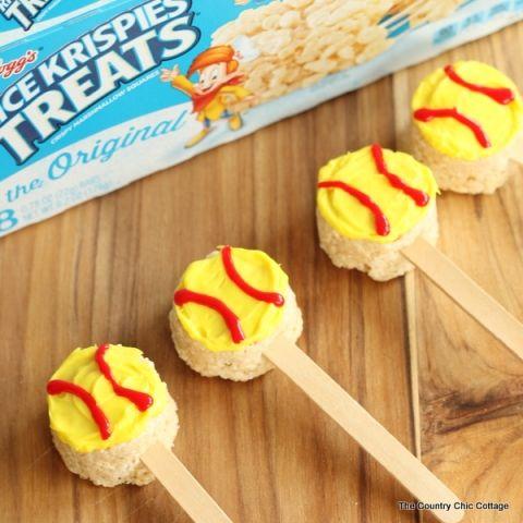 Fun softball treats made from packaged Rice Krispie treats! Would be cute as beach balls