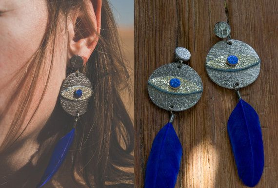 SILVER LEATHeR feather earrings / EVIL EYE // by IRONWOLFjewelry