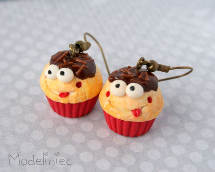 Polymer clay earrings! #polymerclay #earrings #cupcake #funny