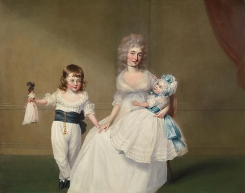 Francis Alleyne, Portrait of Mrs J.P. Fector, with her two children, Peter and Mary, in an interior, circa 1791-92. The elegant doll that Peter holds may not be merely a child's toy, but a 'fashion doll' sent over from the Paris dressmakers to show ladies in England the latest modes.: