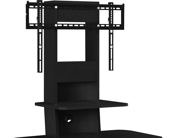 "TV Stand With Mount and Drawers 70""  Black Entertainment Center Contemporary"