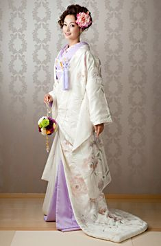 Delicate White and Lavender Uchikake with Flowering Tree Print