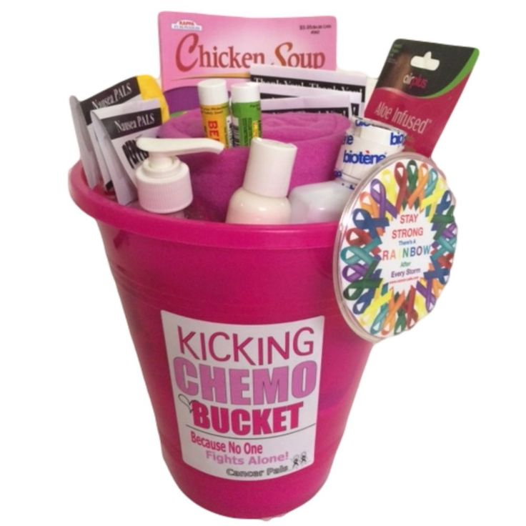 Breast Cancer Patient and Chemotherapy Gift Basket-kicking Chemo Bucket