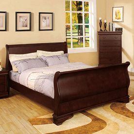 furniture of america laurelle dark cherry california king sleigh bed c - Sleigh Bed Frame Queen