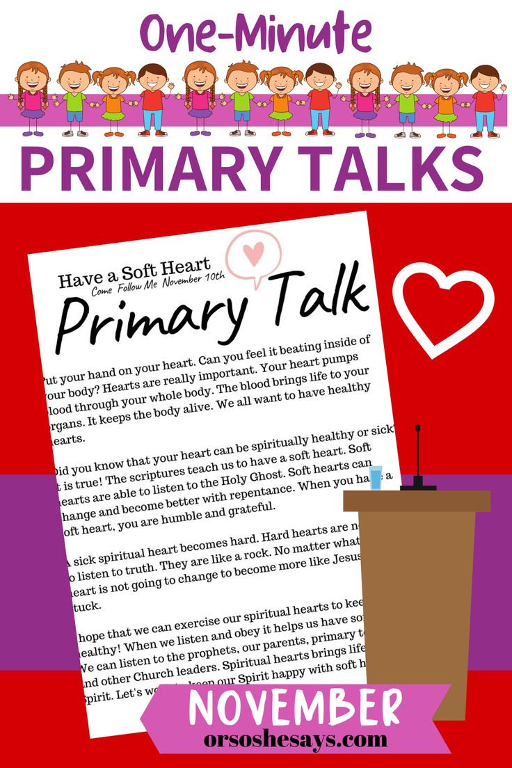 Come Follow Me Primary Talks for November 2019 Primary