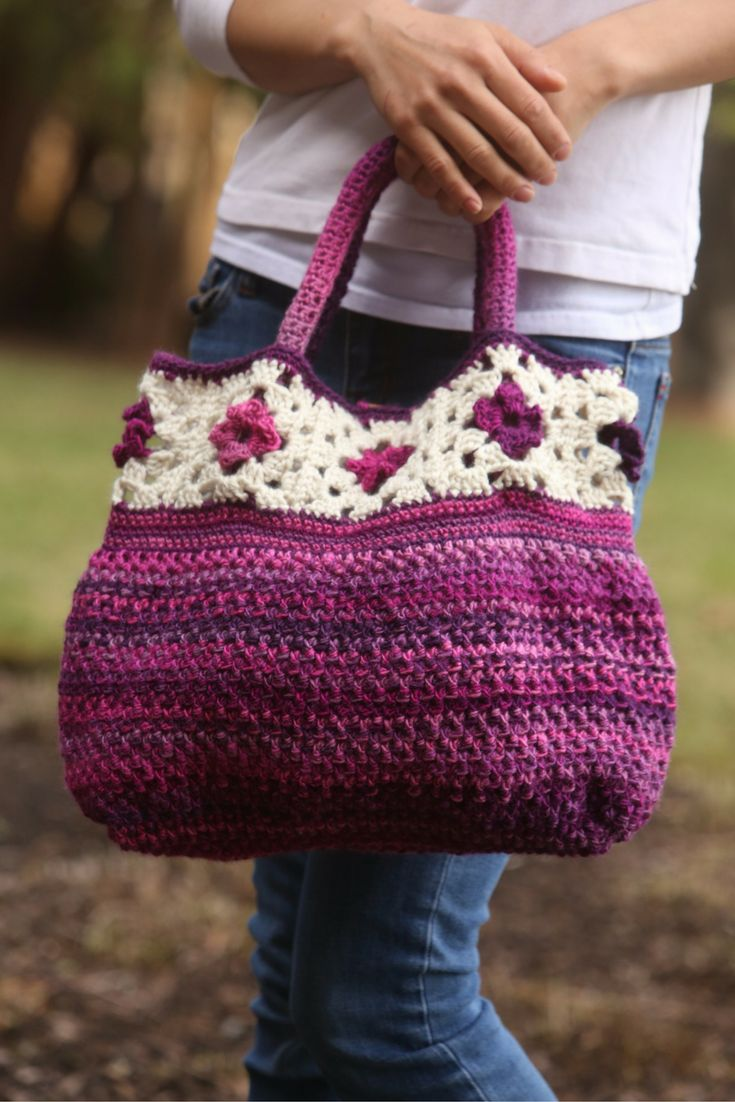 Crochet granny square tote bag pattern