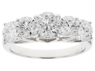 Charles Winston For Bella Luce (R) 4.59ctw Round Rhodium Over Sterling Silver Ring (2.68ctw Dew)