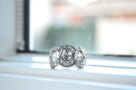 Ornate Art Deco Ring - Cubic Zirconia Ring - Large Cocktail Ring - Three Stone Engagement Ring - Silver Statement Ring - Promise Ring on Etsy, $65.00