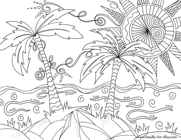 beach scene doodle adult coloring pagesbeach