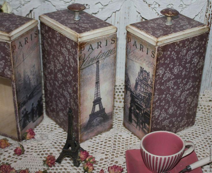 """Купить Баночки для чая,кофе"""" Vintage Paris"""" - брусничный, баночки для специй, баночки для кухни"""