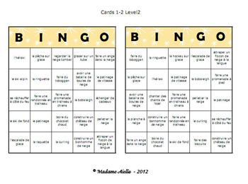 Great winter activity themed bingo game for your French as a second language class! Use it after the winter break! This FREE package includes two full versions at different levels for middle school - 40 unique cards in each set, plus calling cards, and more!