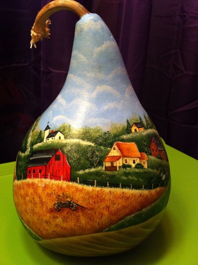 Rolling Hills Country Scene Hand Painted Gourd