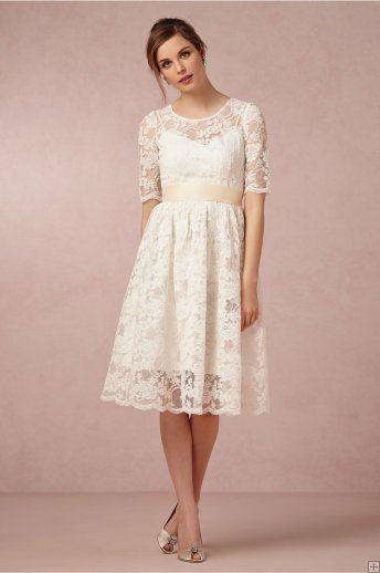 Best 25 knee length wedding dresses ideas on pinterest white short sleeved a line knee length lace wedding dress with ribbon junglespirit Gallery