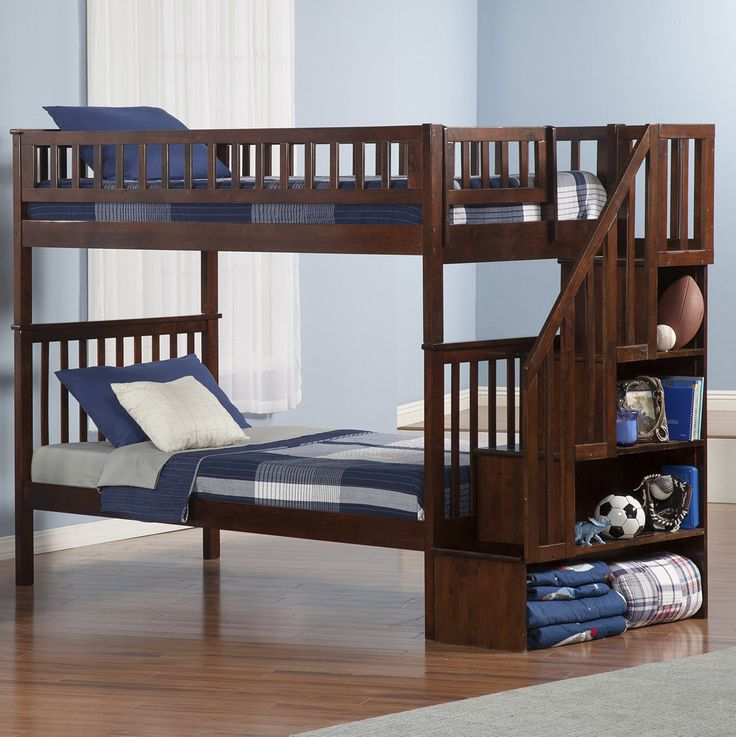 atlantic furniture woodland twin over twin bunk bed with staircase u0026 reviews wayfair