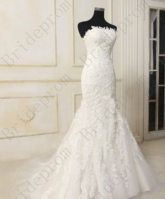 White ivory lace fishtail wedding dress strapless by for White fishtail wedding dress
