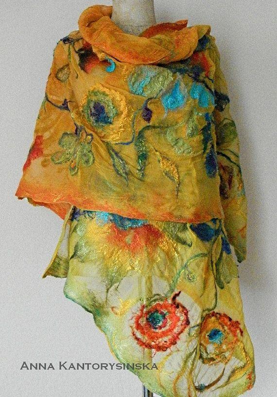 nuno felted silk scarf shawl SUNFLOWERS handmade by kantorysinska