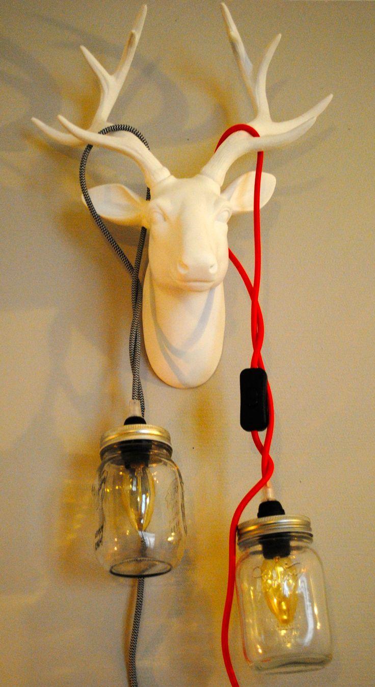 Lampe dans un bocal! Lampe à poser ou à suspendre Mason Jar Vintage Industriel Home Made