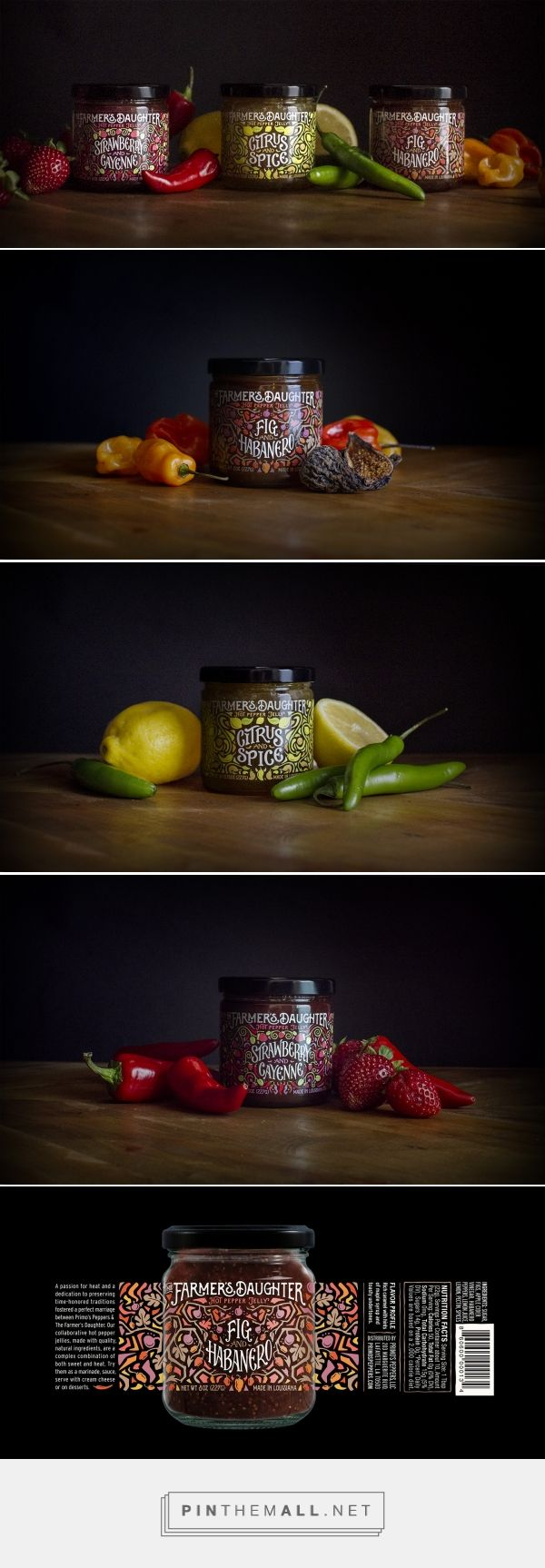The Farmer's Daughter Hot Pepper Jelly packaging design by The Brandit - http://www.packagingoftheworld.com/2017/06/the-farmers-daughter-hot-pepper-jelly.html - created via https://pinthemall.net