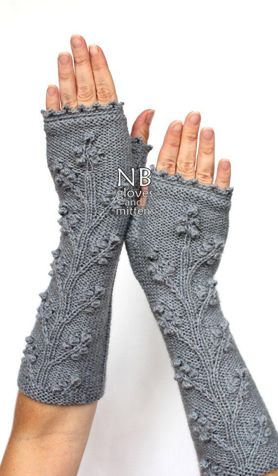 Hand gestrickt fingerlose Handschuhe, grau, lang, 29 cm (11,5 Zoll), Bekleidung und Zubehör, Handschuhe & Fäustlinge