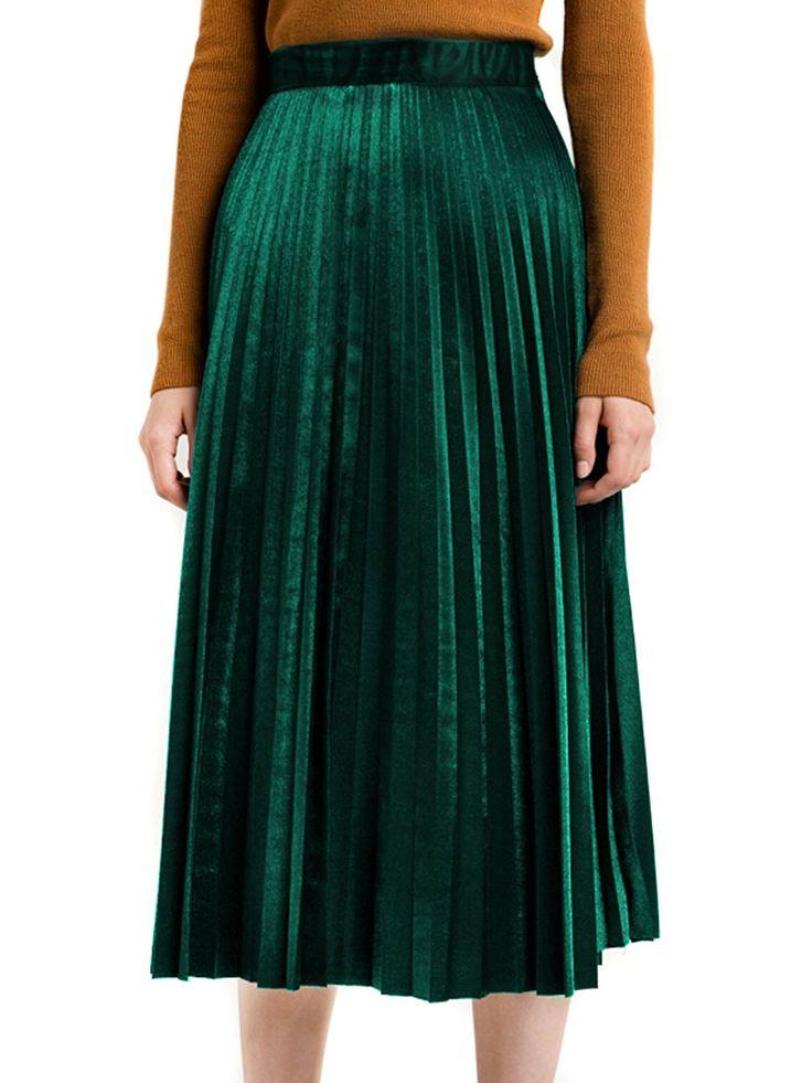 Choies Damen Plisseerock Samt Winterrock Lang Gummibund Vintage Hohe Taille Falten A-Linie Röcke Grün ONESIZE: Amazon.de: Bekleidung