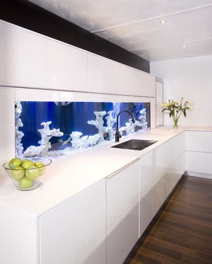 Make The Kitchen Backsplash More Beautiful: Fish Tank Backsplash