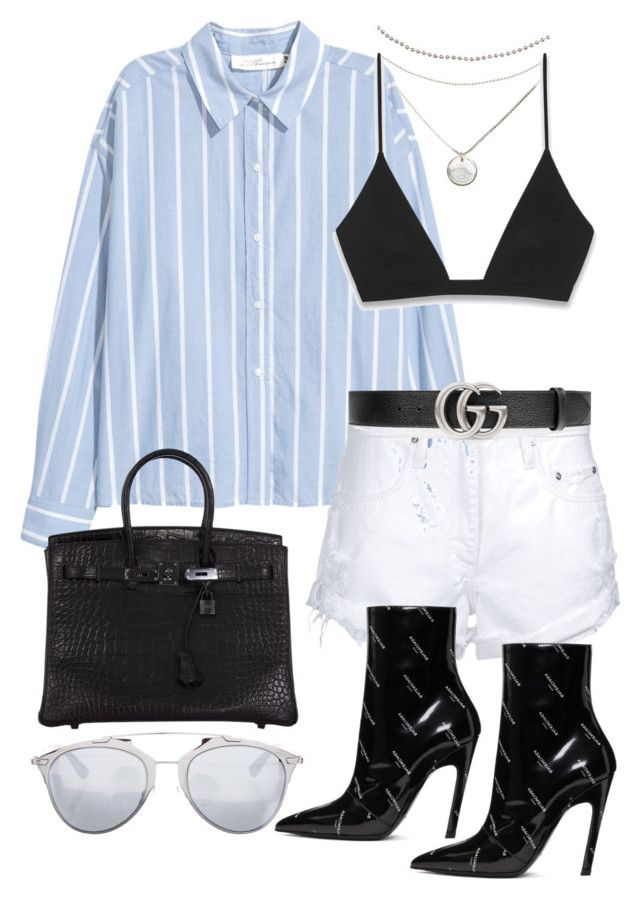 """""""Untitled #3263"""" by bekahtee ❤ liked on Polyvore featuring Yves Saint Laurent, Nobody Denim, Balenciaga, Gucci, Hermès and Christian Dior"""