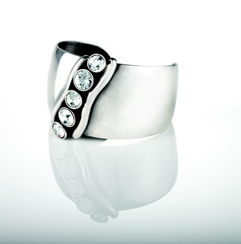 Bold, burnished silver cuff encrusted with Swarovski crystals (B1078)