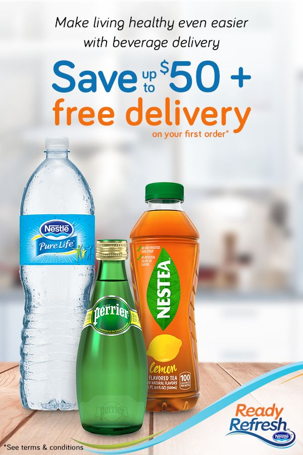 This is ReadyRefresh℠ by Nestlé. Refreshment made easy! Choose from a wide variety of beverages to get delivered to your home or office! Save up to $50 Plus Free Delivery on your first order.