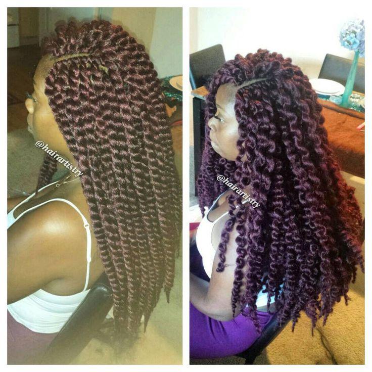 Crochet braids with Mambo Havana Twist hair. 7 packs Twisted vs Unraveled