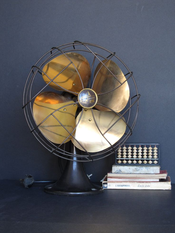 Vintage oscillating Emerson Electric fan with brass blades / industrial decor by justynamrugala on Etsy