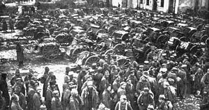 Russian prisoners at the Battle of Tannenberg, where the Russian Second Army was annihilated by German forces