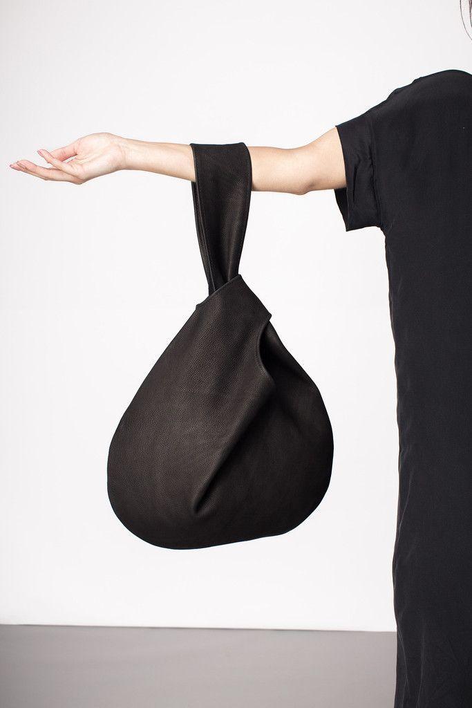 Black leather handbag, chic minimal style // Elizabeth Suzann