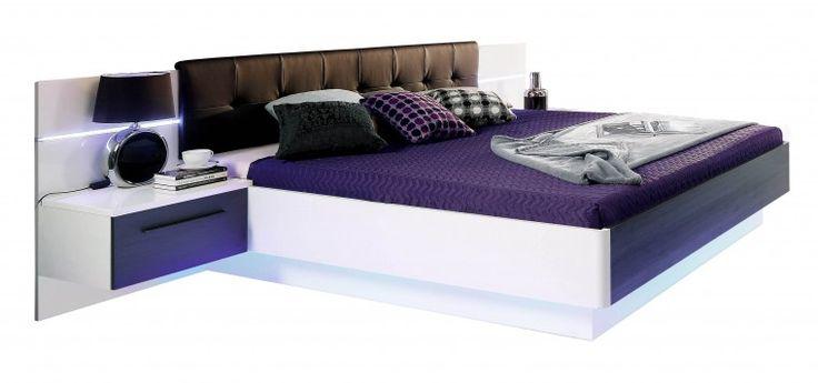 Recove - komplet, posteľ 180cm (biely lesk, dub čierny)