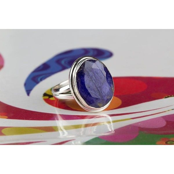 Amazing 925 Sterling Silver Sapphire Gemstone Ring via Polyvore featuring jewelry, rings, gem rings, gemstone jewellery, sapphire jewellery, sterling silver jewellery and sterling silver sapphire ring