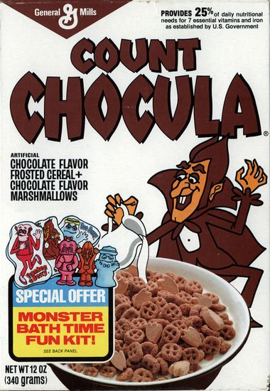 i had a glass container full of count chocula at the cereal bar at my
