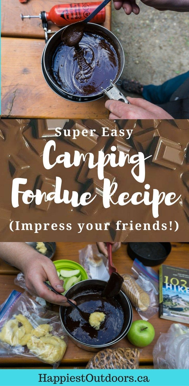 Get this super easy camping fondue recipe. Make chocolate fondue for your friends on your next camping trip. You'll never guess how easy it is. Click through for the full recipe.