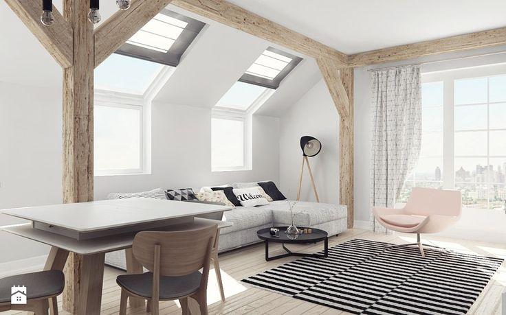 Mieszkanie na poddaszu - Średni salon z jadalnią, styl skandynawski - zdjęcie od Illa Design