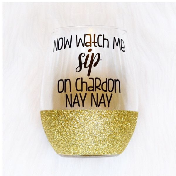 Now Watch Me Sip on Chardon Nay Nay Stemless Wine Glass Glitter Wine... ($15) ❤ liked on Polyvore featuring home, kitchen & dining, drinkware, barware, drink & barware, gold, home & living, wine glasses & charms, wine cups and gold mug