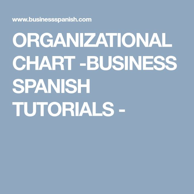 ORGANIZATIONAL CHART -BUSINESS SPANISH TUTORIALS -
