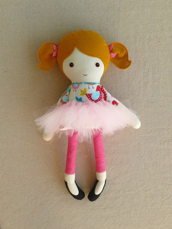 Fabric Doll Rag Doll by rovingovine, #creative handmade #diy gifts....Alyssa would love this one because of the tutu!