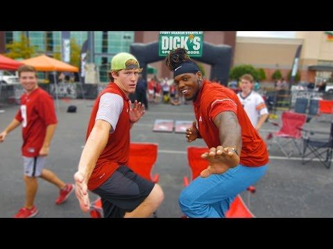 Derrick Henry shows off incredible trick shots with local basketball crew…