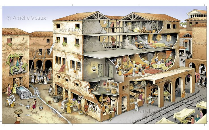 Ancient Roman Insula. a type of apartment building that housed lower to middle class people. the ground floor was usually shops and businesses with living areas located above