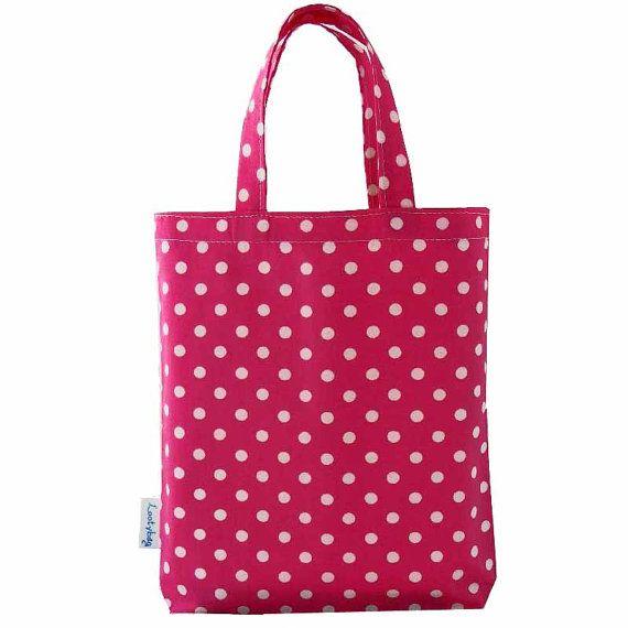 Pink Polka Dot Fabric Party Bag Gift Bag or Loot Bag by lootybag, £2.25