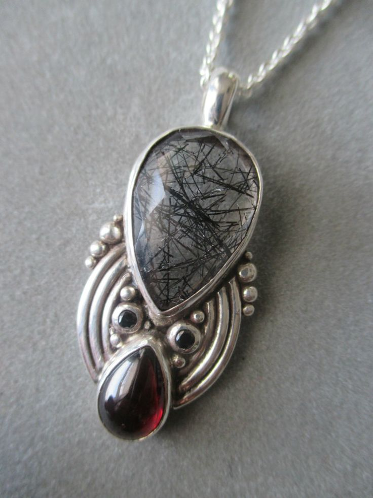 One of a Kind Sterling Silver Tourmilated Quartz & Garnet Pendant by RichelleJewelry on Etsy