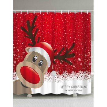 Christmas Elk Fabric Waterproof Bath Shower Curtain