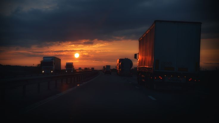 The way back home - Dusk on the highway.
