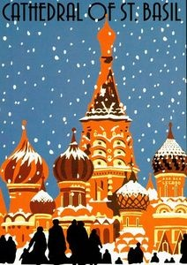Vintage Moscow Cathedral of St Basil Travel Poster