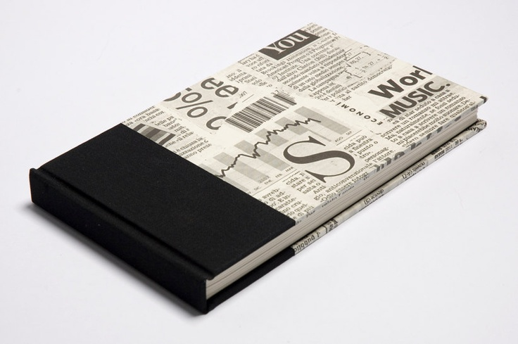 JOURNAL or NOTEBOOK - Black fabric and paper with newspaper print - Handmade. $26.00, via Etsy.